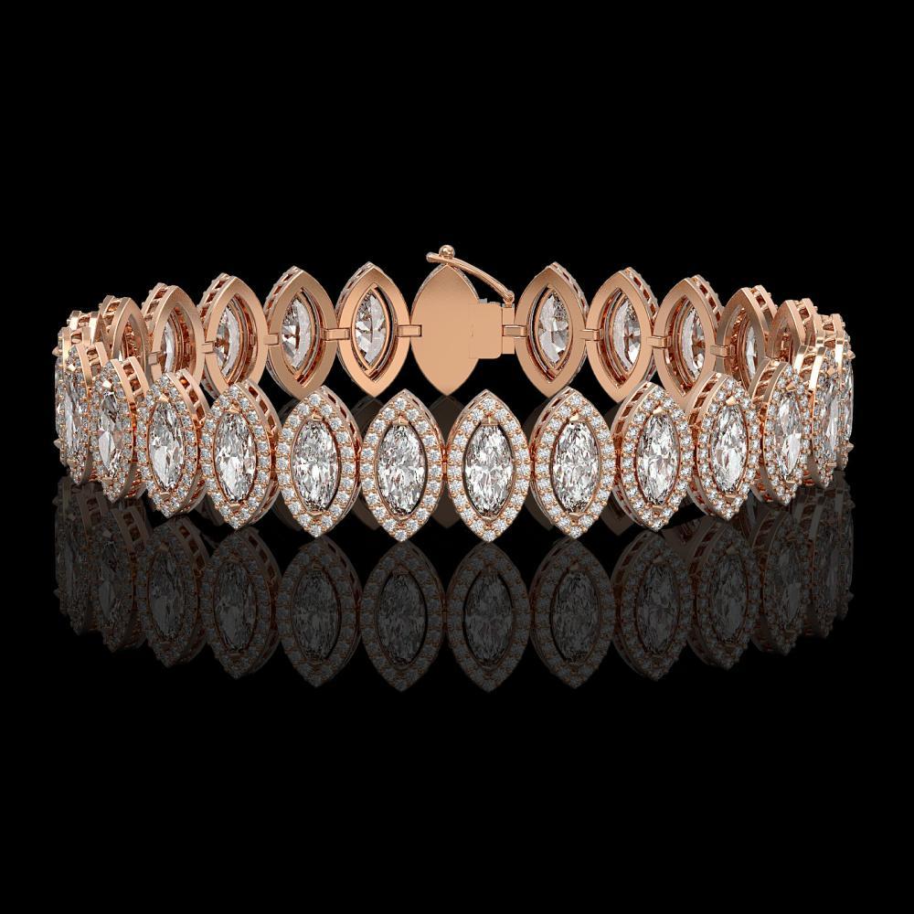 17.55 ctw Marquise Diamond Bracelet 18K Rose Gold - REF-2397M3F - SKU:42780