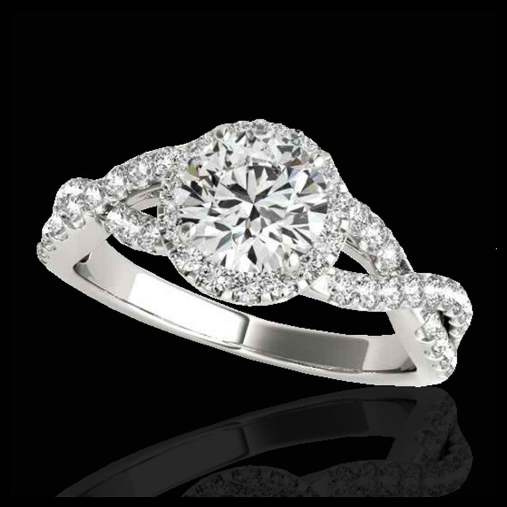 1.54 ctw H-SI/I Diamond Solitaire Halo Ring 10K White Gold - REF-135R2K - SKU:33787
