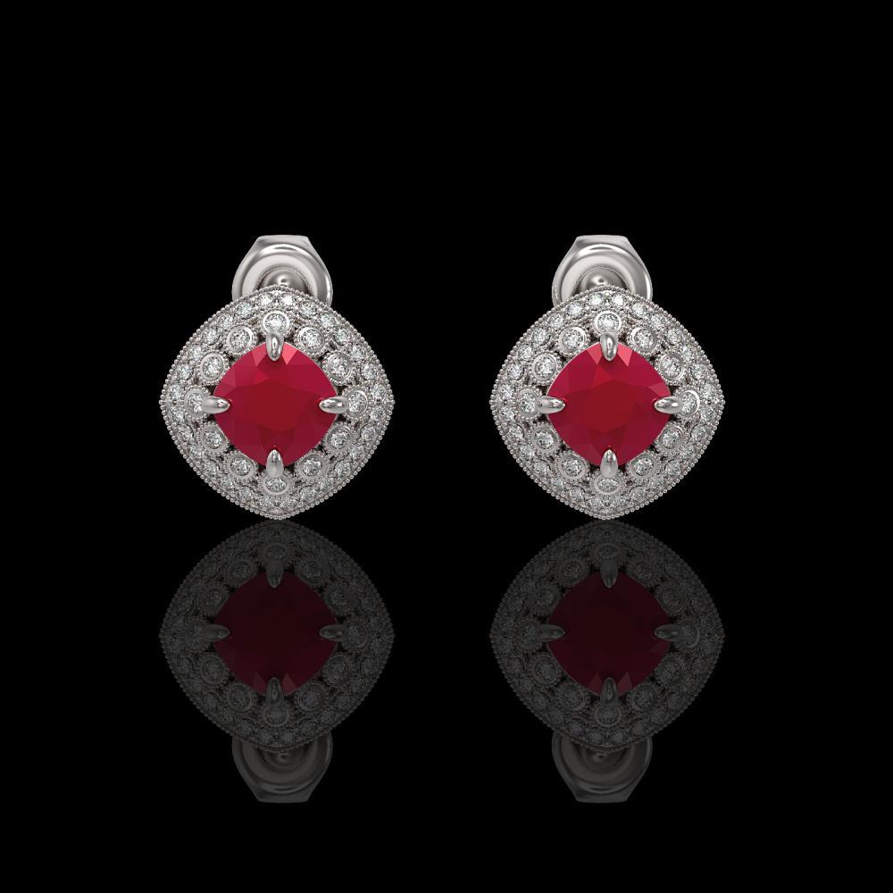 4.99 ctw Ruby & Diamond Earrings 14K White Gold - REF-124M7F - SKU:44123