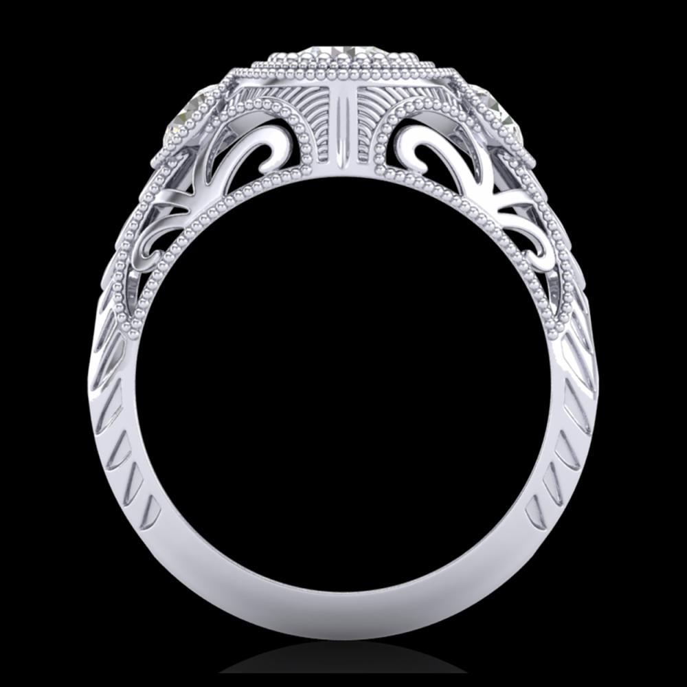 1.06 ctw VS/SI Diamond Solitaire Art Deco 3 Stone Ring 18K White Gold - REF-180Y2X - SKU:36893