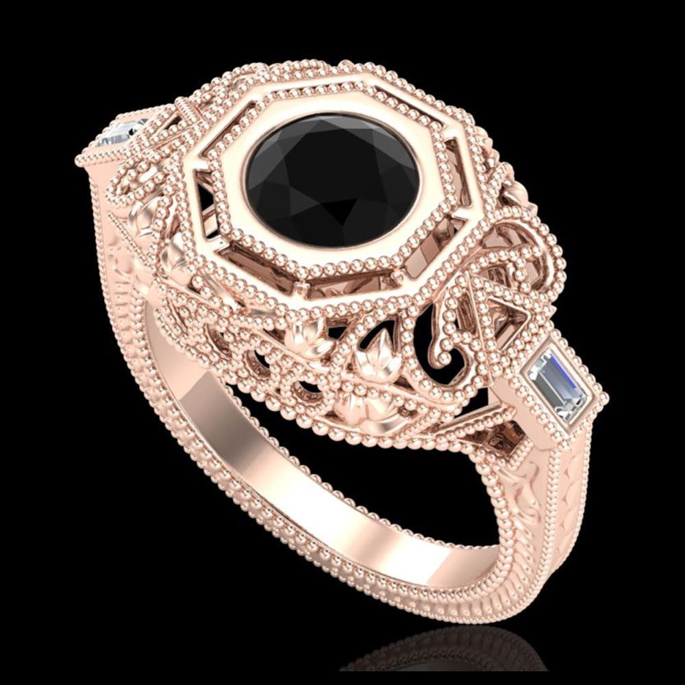 1.13 ctw Fancy Black Diamond Art Deco Ring 18K Rose Gold - REF-140F2N - SKU:37822