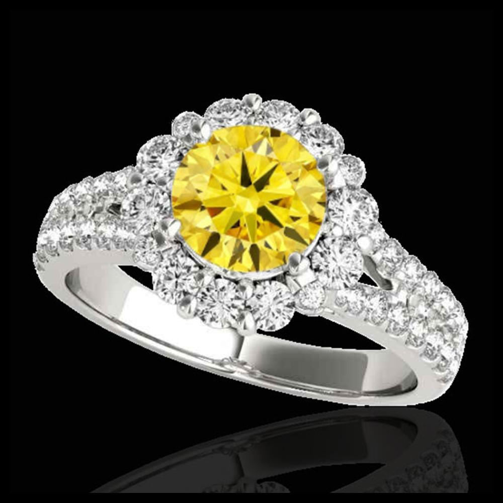 2.51 ctw SI/I Fancy Intense Yellow Diamond Ring 10K White Gold - REF-347Y7X - SKU:33947
