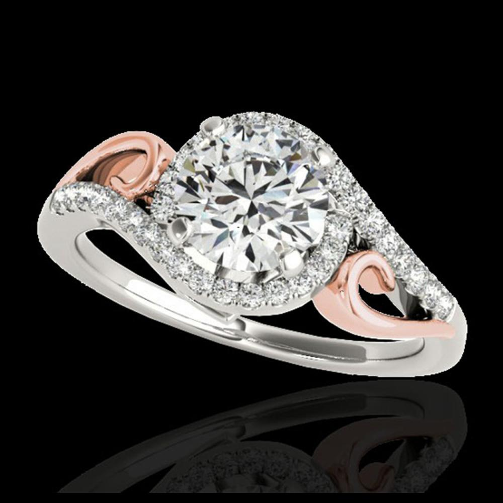 1.25 ctw H-SI/I Diamond Solitaire Halo Ring 10K White & Rose Gold - REF-116M6F - SKU:34169