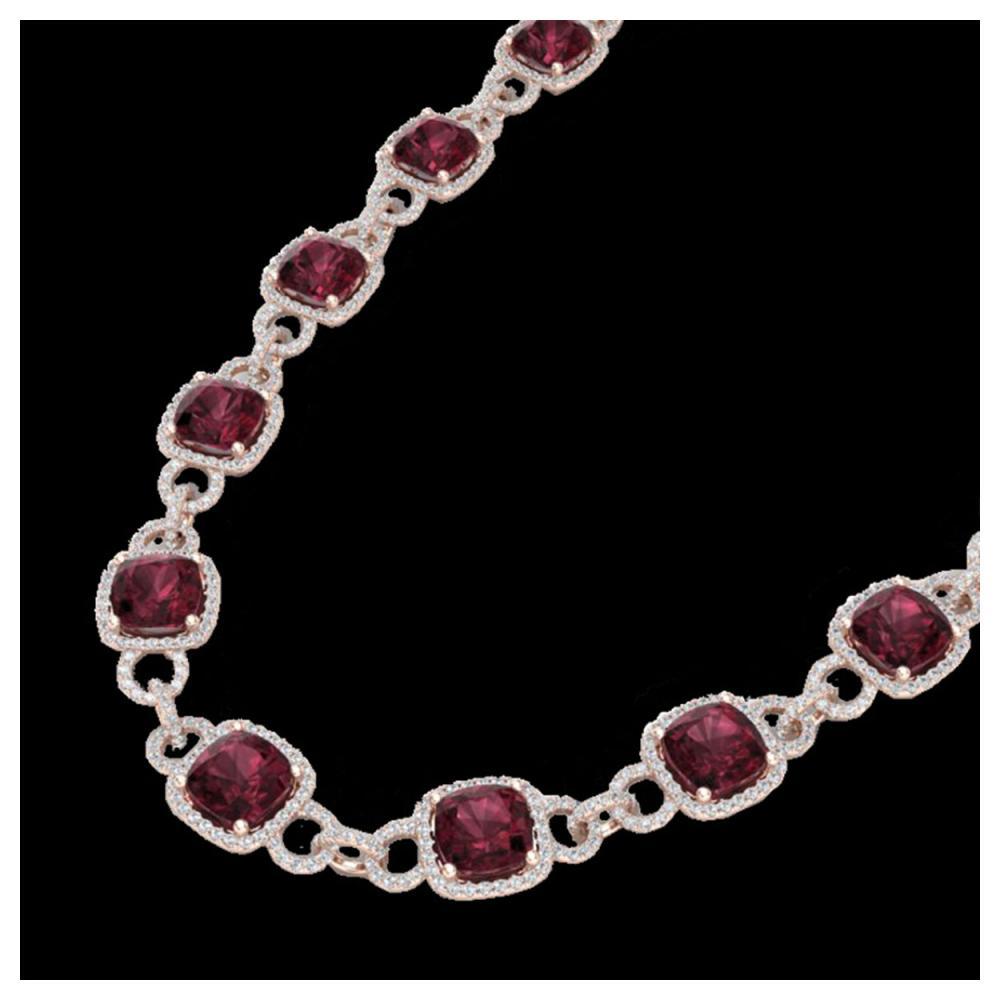 66 ctw Garnet & VS/SI Diamond Eternity Necklace 14K Rose Gold - REF-794H5M - SKU:23044