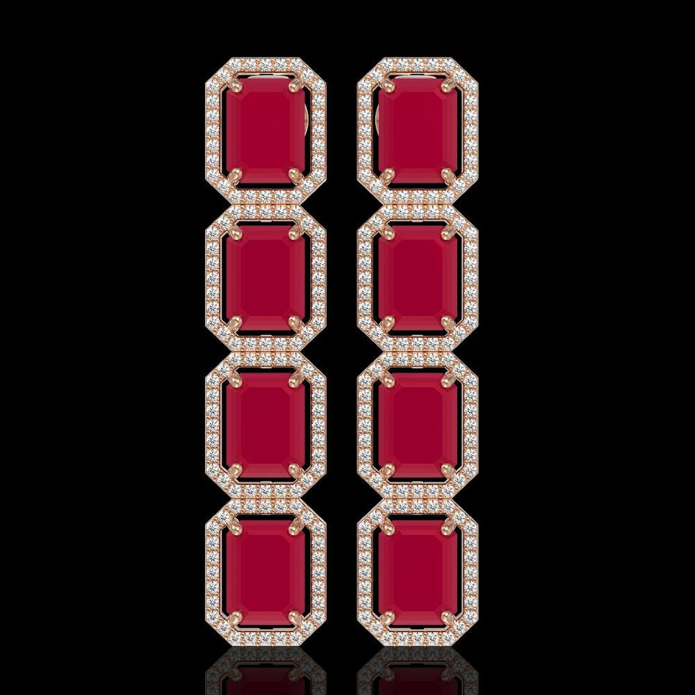 20.59 ctw Ruby & Diamond Halo Earrings 10K Rose Gold - REF-230V9Y - SKU:41574
