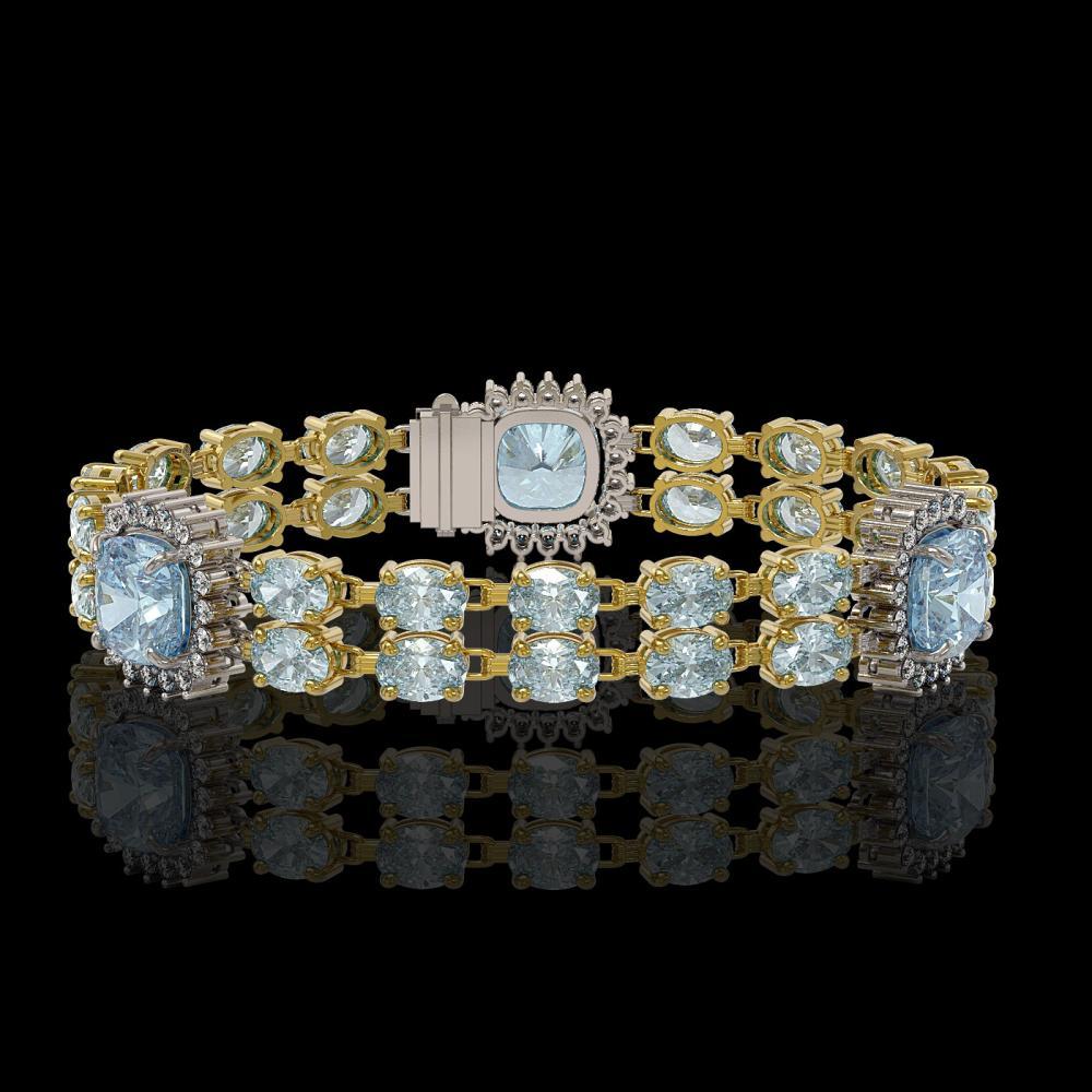 18.97 ctw Sky Topaz & Diamond Bracelet 14K Yellow Gold - REF-231V5Y - SKU:44770