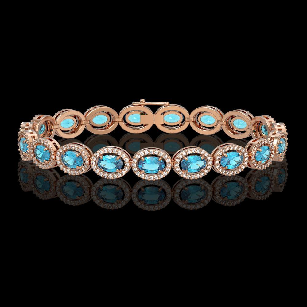 14.82 ctw Swiss Topaz & Diamond Halo Bracelet 10K Rose Gold - REF-230X4R - SKU:40485