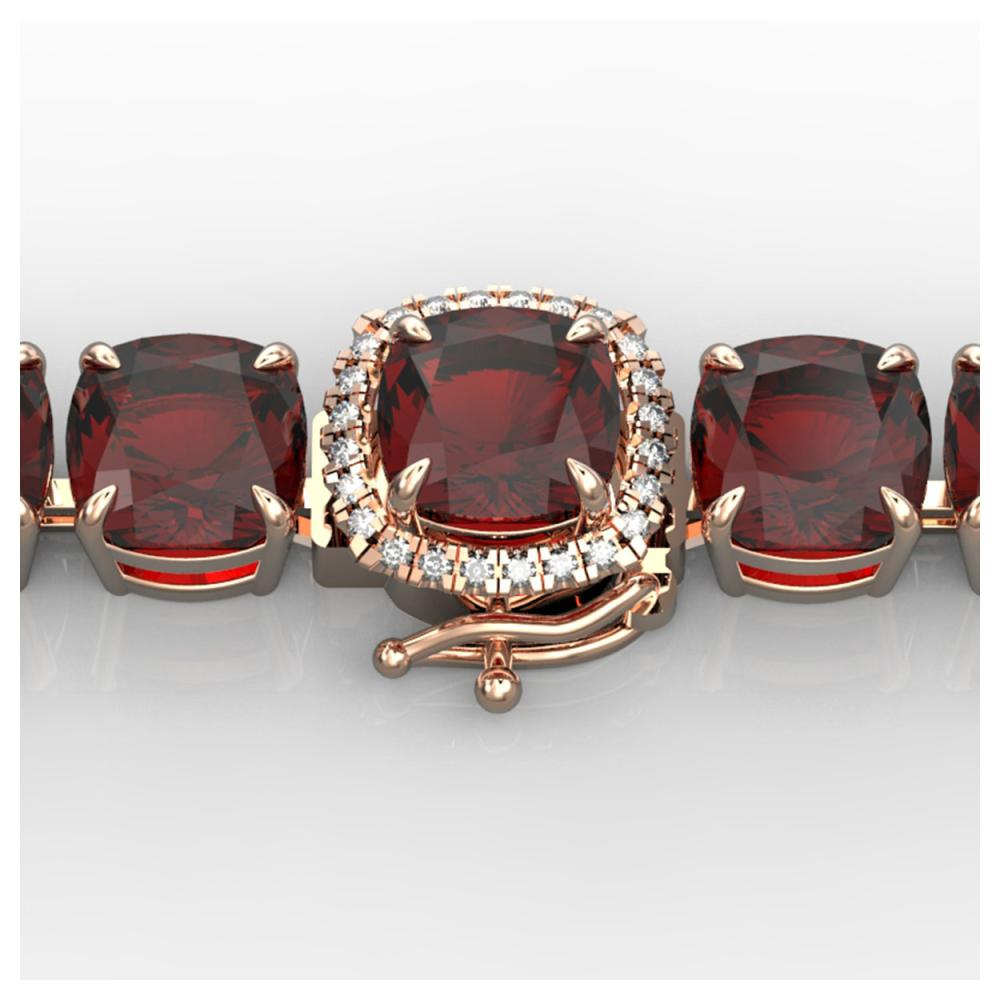 35 ctw Garnet & VS/SI Diamond Bracelet 14K Rose Gold - REF-134N2A - SKU:23310