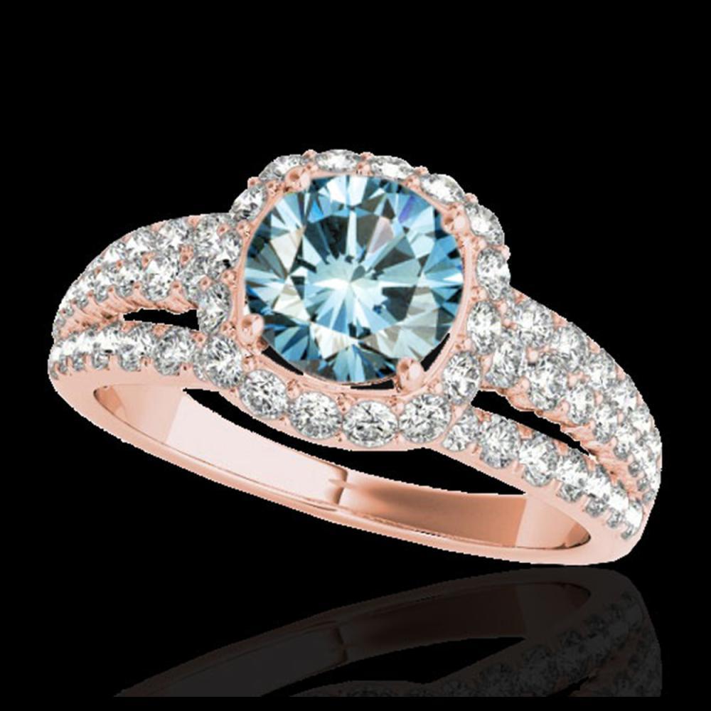 2.25 ctw SI Fancy Blue Diamond Halo Ring 10K Rose Gold - REF-184W3H - SKU:34013