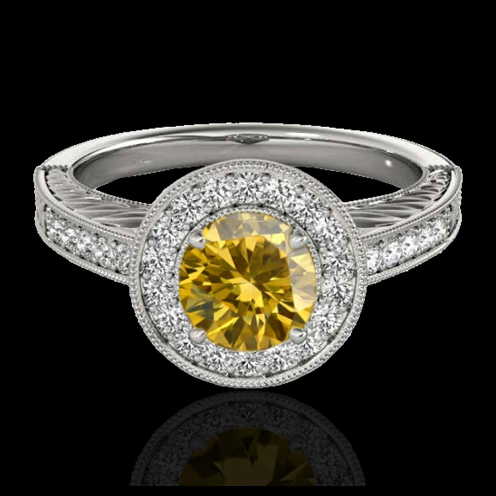 1.50 ctw SI/I Fancy Intense Yellow Diamond Ring 10K White Gold - REF-231H8M - SKU:33749