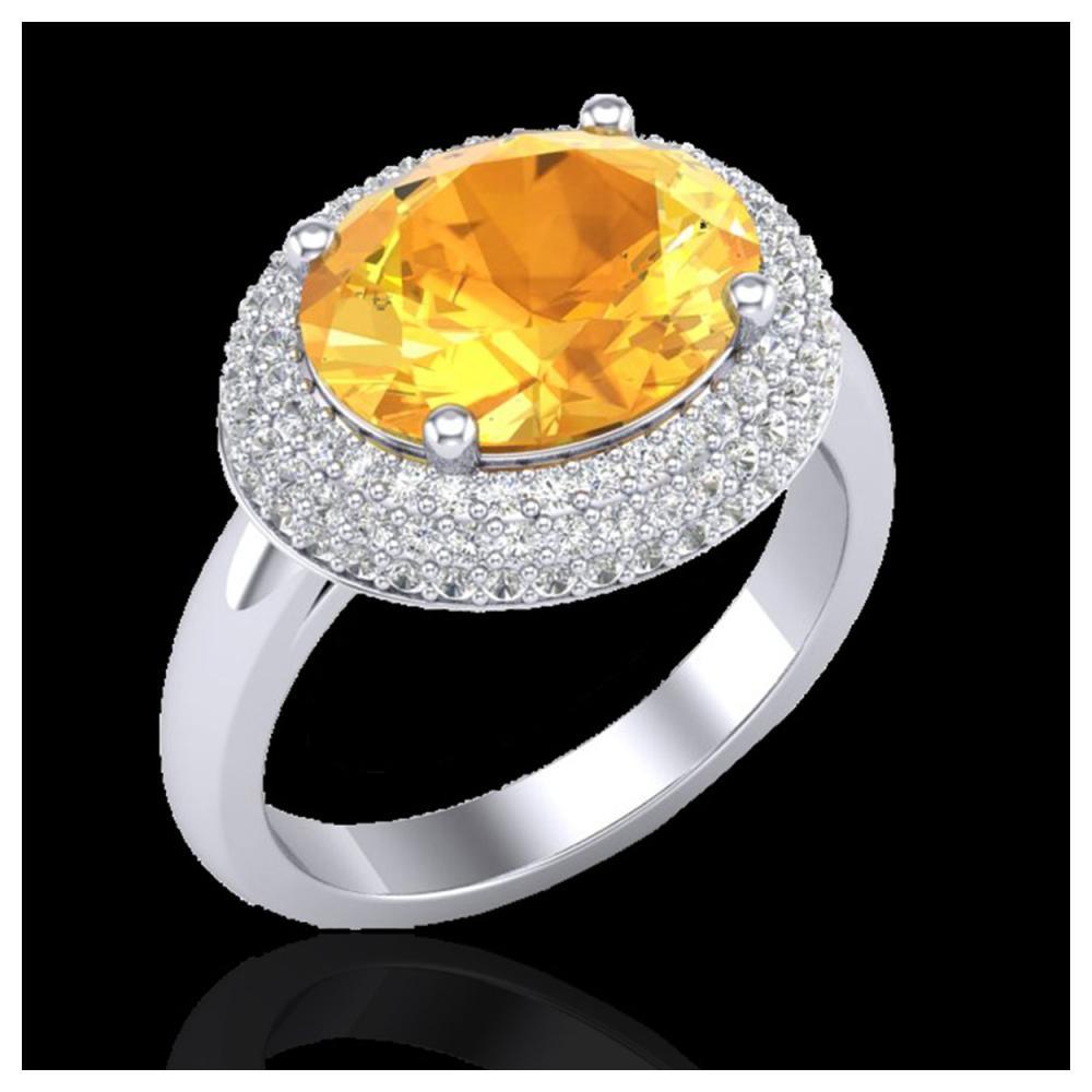 4 ctw Citrine & VS/SI Diamond Ring 18K White Gold - REF-98M5F - SKU:20911