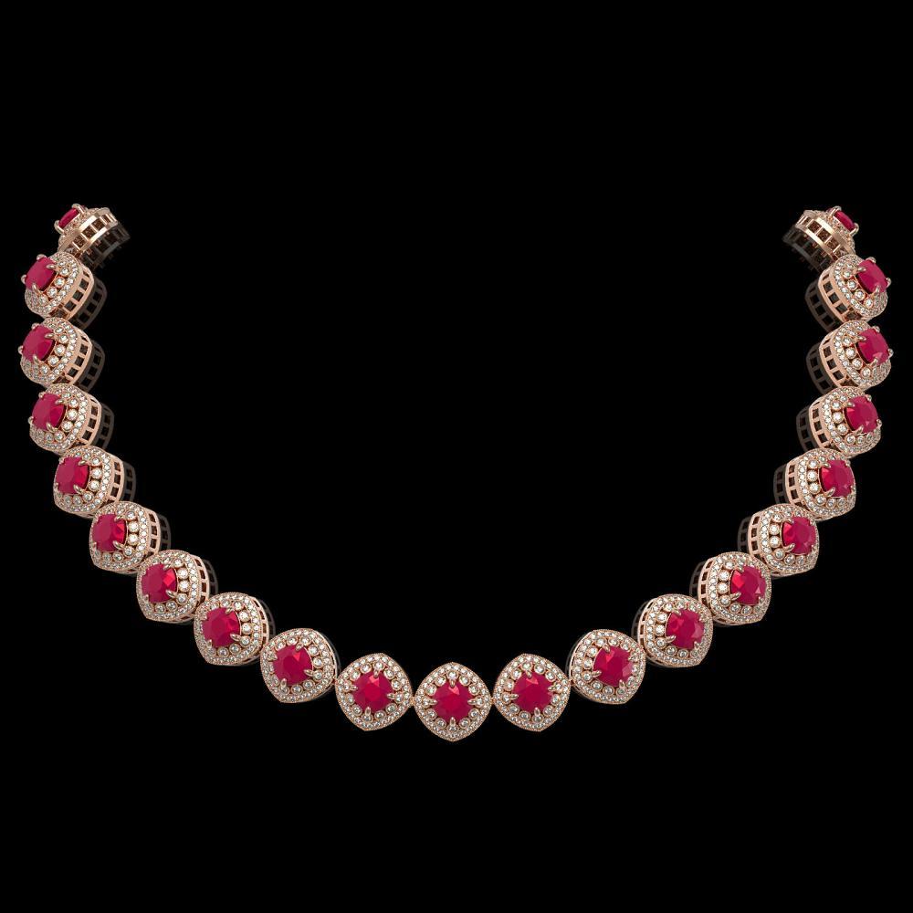 82.17 ctw Ruby & Diamond Necklace 14K Rose Gold - REF-2052K9W - SKU:44100