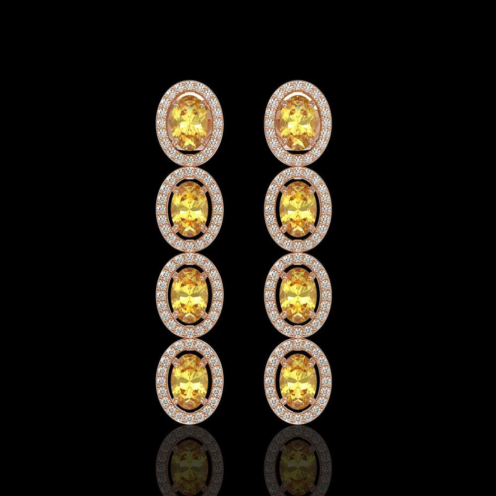 5.4 ctw Fancy Citrine & Diamond Halo Earrings 10K Rose Gold - REF-125Y5X - SKU:40545