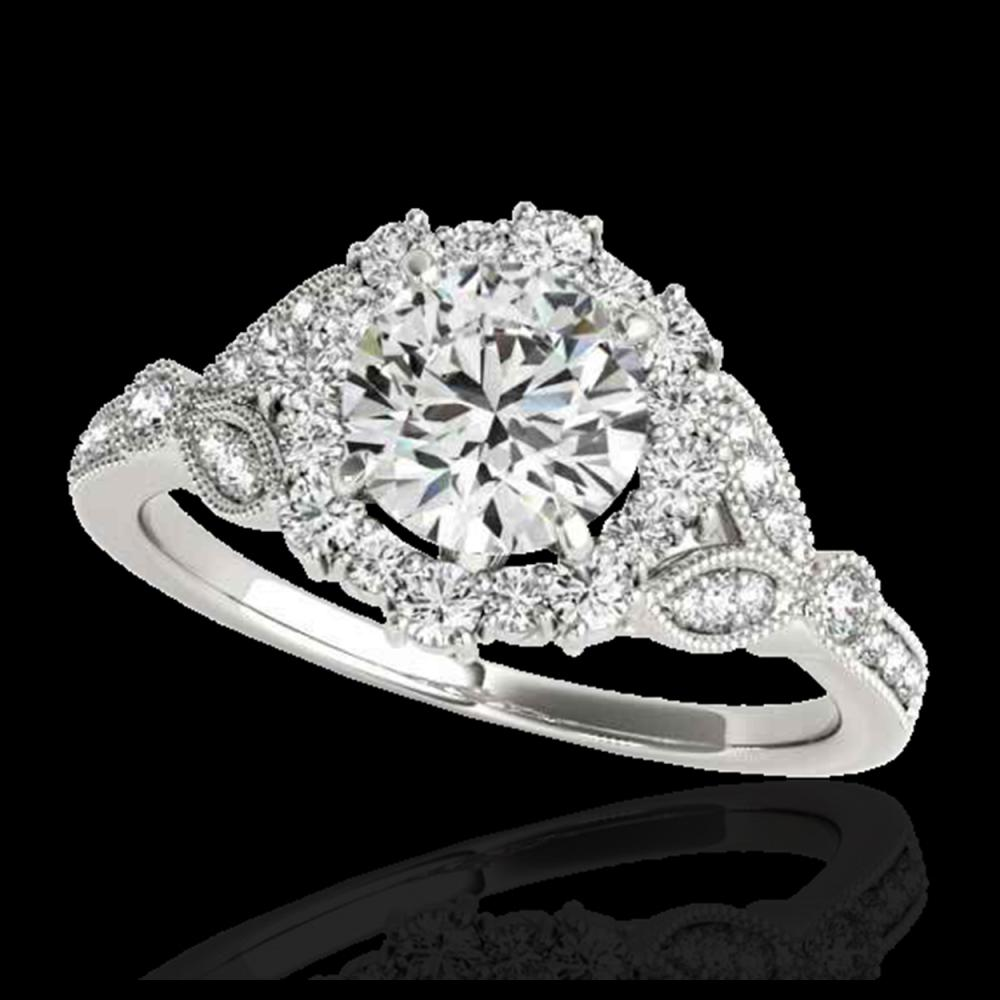 1.50 ctw H-SI/I Diamond Solitaire Halo Ring 10K White Gold - REF-129H5M - SKU:33760