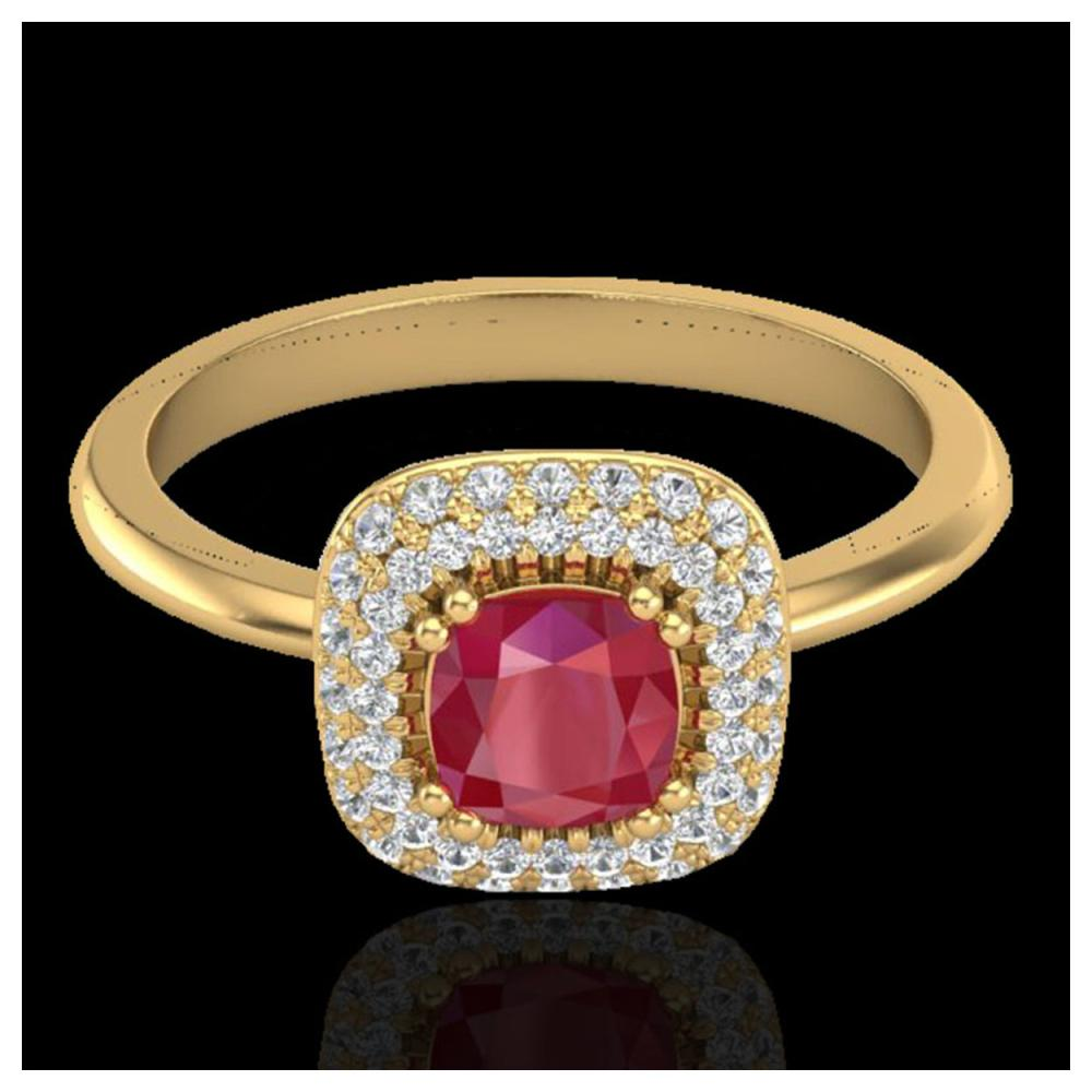 1.16 ctw Ruby & VS/SI Diamond Ring Halo 18K Yellow Gold - REF-70K9W - SKU:21034