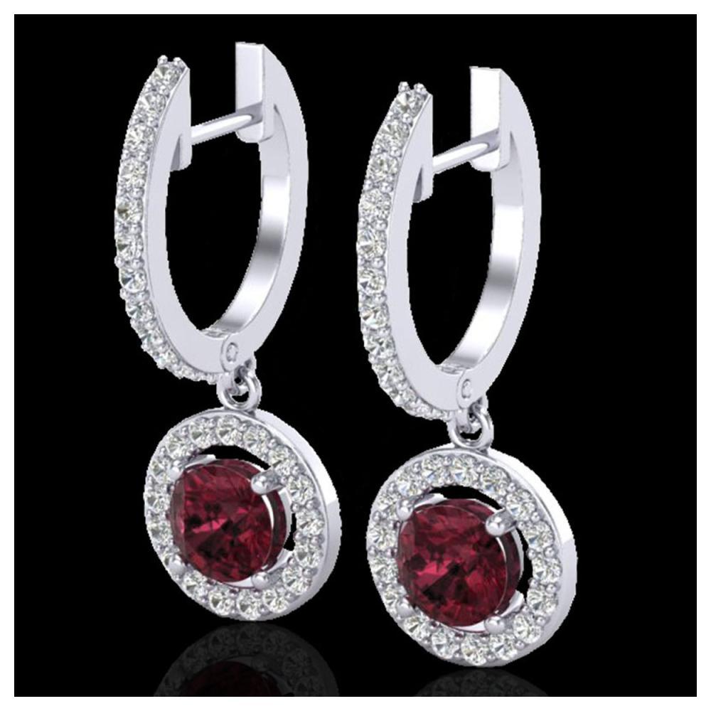 1.75 ctw Garnet & VS/SI Diamond Earrings 18K White Gold - REF-82N7A - SKU:23256
