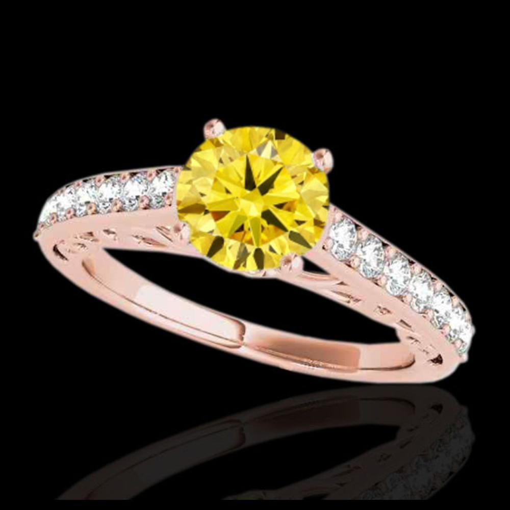1.40 ctw SI/I Fancy Intense Yellow Diamond Ring 10K Rose Gold - REF-190V9Y - SKU:35022