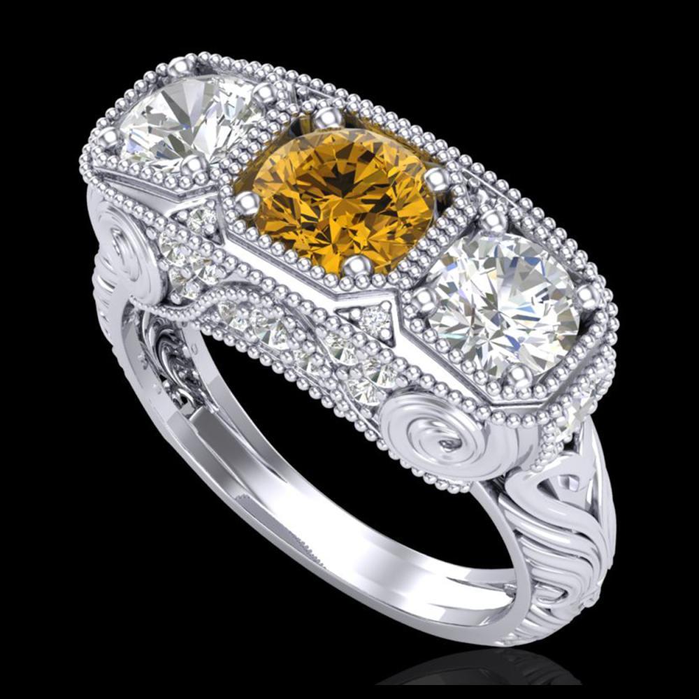 2.51 ctw Intense Fancy Yellow Diamond Art Deco Ring 18K White Gold - REF-345Y5X - SKU:37721