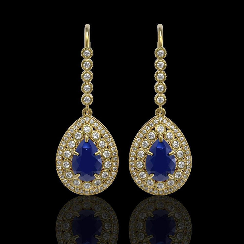 10.15 ctw Sapphire & Diamond Earrings 14K Yellow Gold - REF-272M2F - SKU:43153