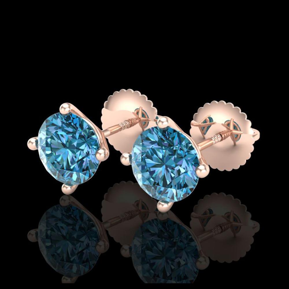 2 ctw Fancy Intense Blue Diamond Art Deco Earrings 18K Rose Gold - REF-272K7W - SKU:38245
