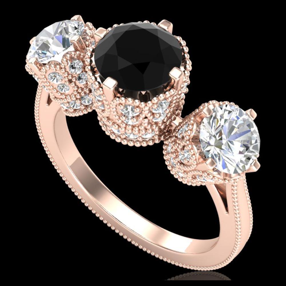 3.06 ctw Fancy Black Diamond Art Deco 3 Stone Ring 18K Rose Gold - REF-294K9W - SKU:37388