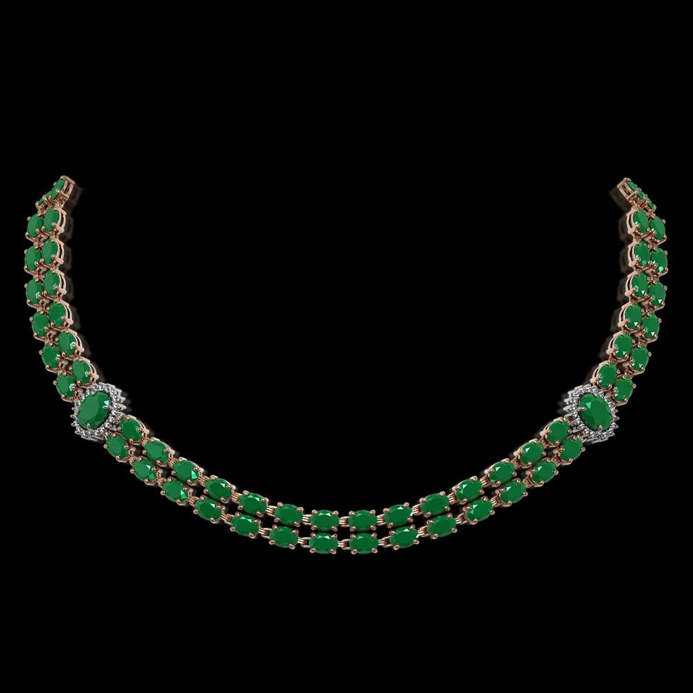 43.13 ctw Emerald & Diamond Necklace 14K Rose Gold - REF-467R3K - SKU:44169