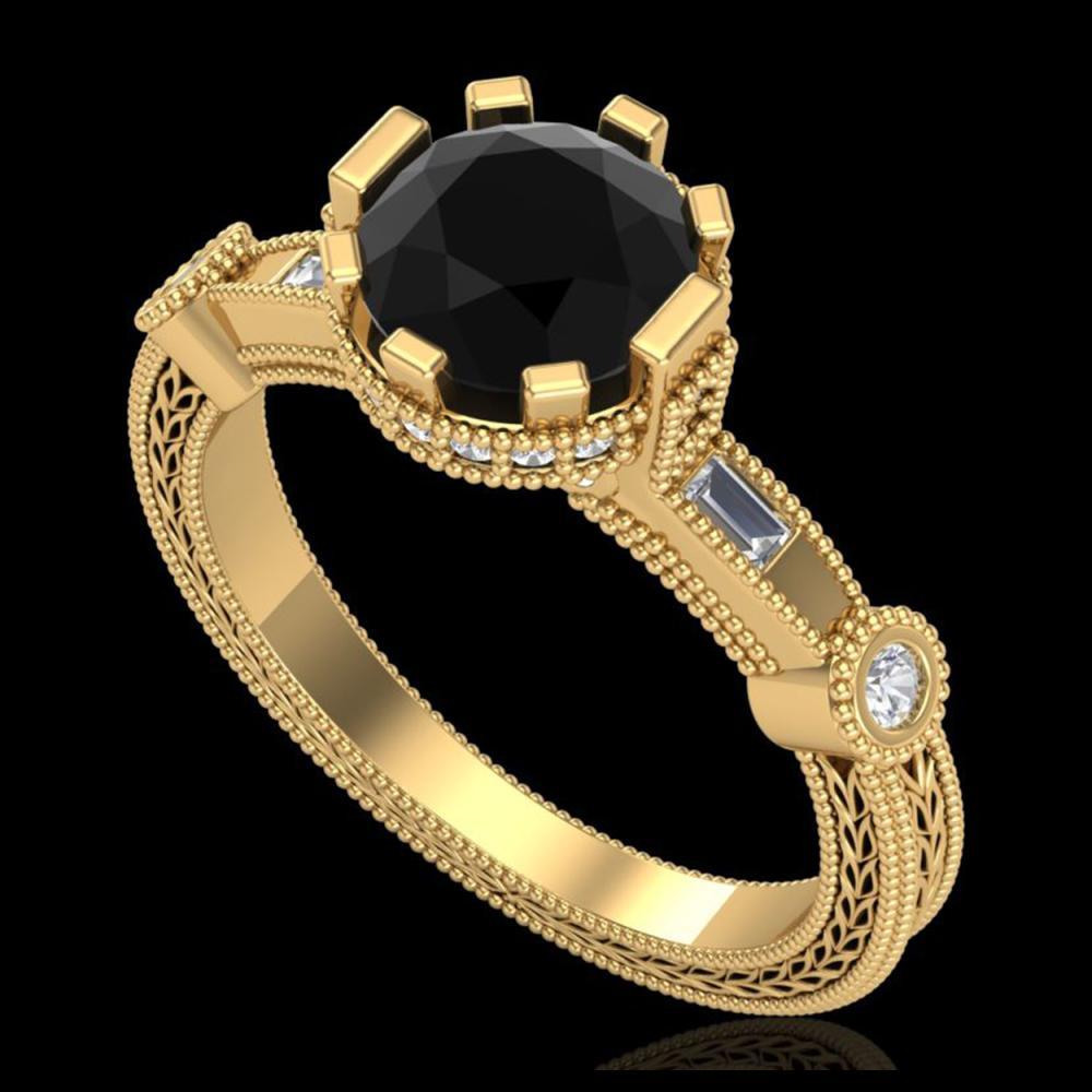 1.71 ctw Fancy Black Diamond Art Deco Ring 18K Yellow Gold - REF-123V6Y - SKU:37858