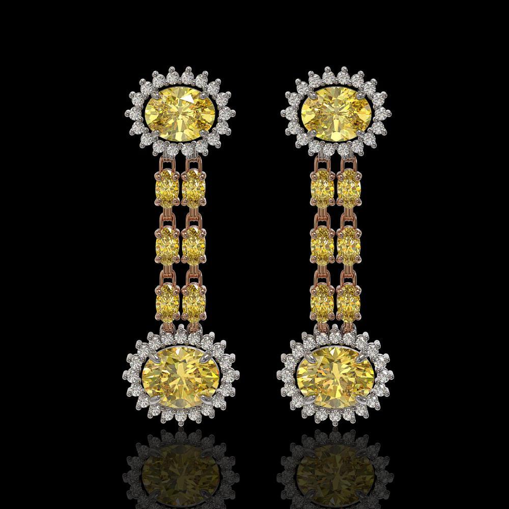 8.35 ctw Citrine & Diamond Earrings 14K Rose Gold - REF-144Y2X - SKU:44325