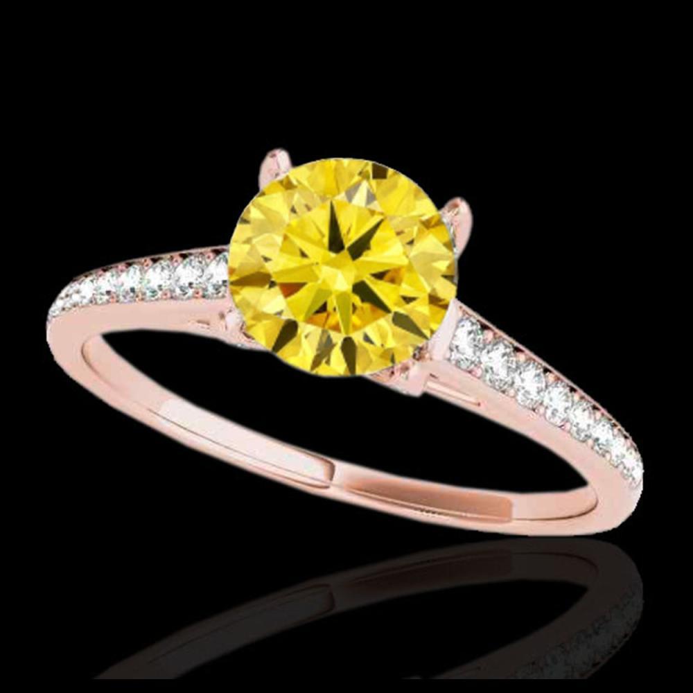 1.50 ctw SI/I Fancy Intense Yellow Diamond Ring 10K Rose Gold - REF-160A5V - SKU:34852