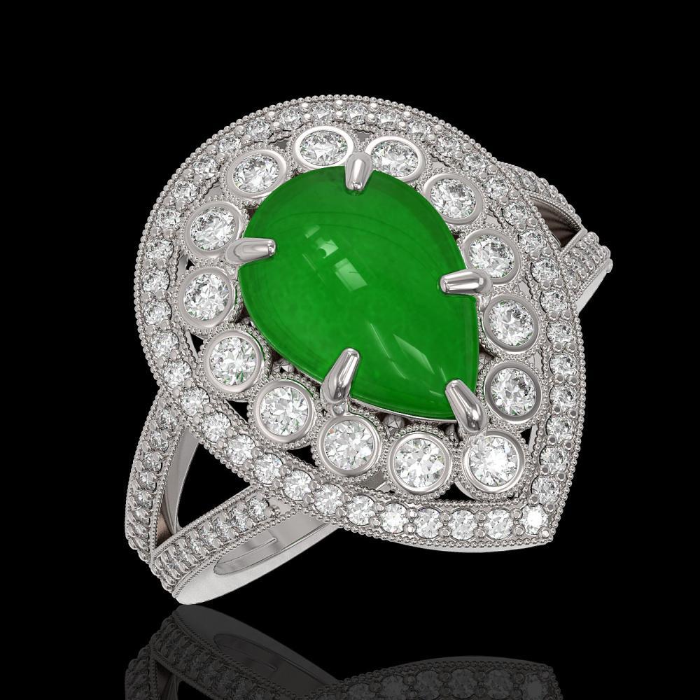 4.12 ctw Jade & Diamond Ring 14K White Gold - REF-134X4R - SKU:46143