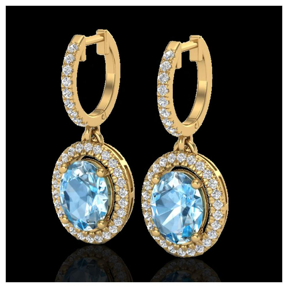 4.25 ctw Sky Blue Topaz & VS/SI Diamond Earrings 18K Yellow Gold - REF-94W7H - SKU:20318