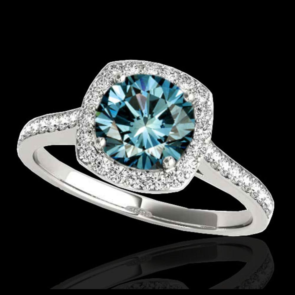 1.65 ctw SI Fancy Blue Diamond Halo Ring 10K White Gold - REF-156R8K - SKU:34198