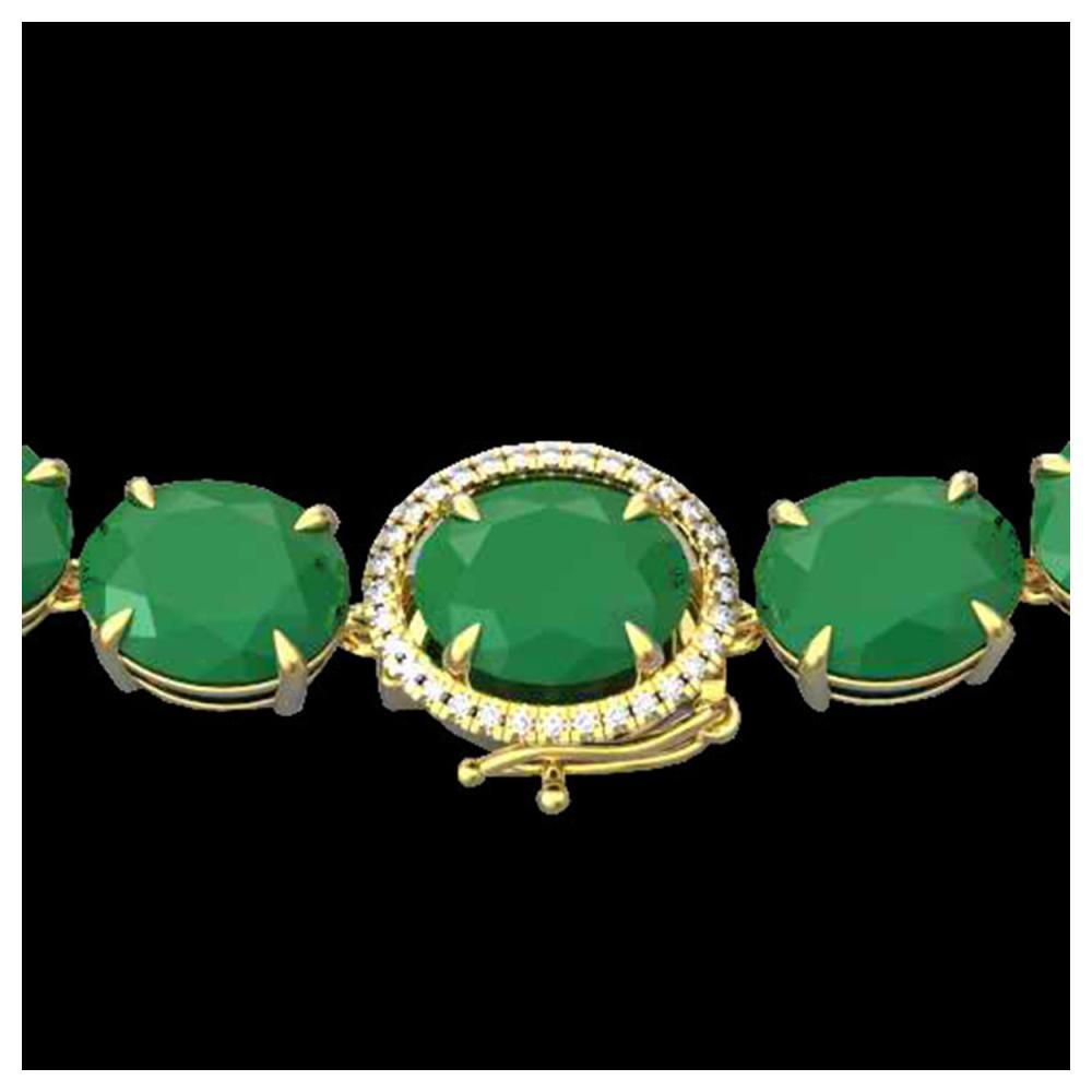 170 ctw Emerald & VS/SI Diamond Halo Necklace 14K Yellow Gold - REF-993Y8X - SKU:22295
