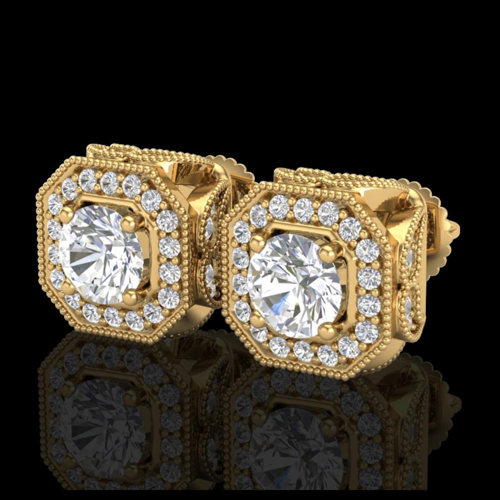 2.75 ctw VS/SI Diamond Solitaire Art Deco Stud Earrings 18K Yellow Gold - REF-472H7M - SKU:37324