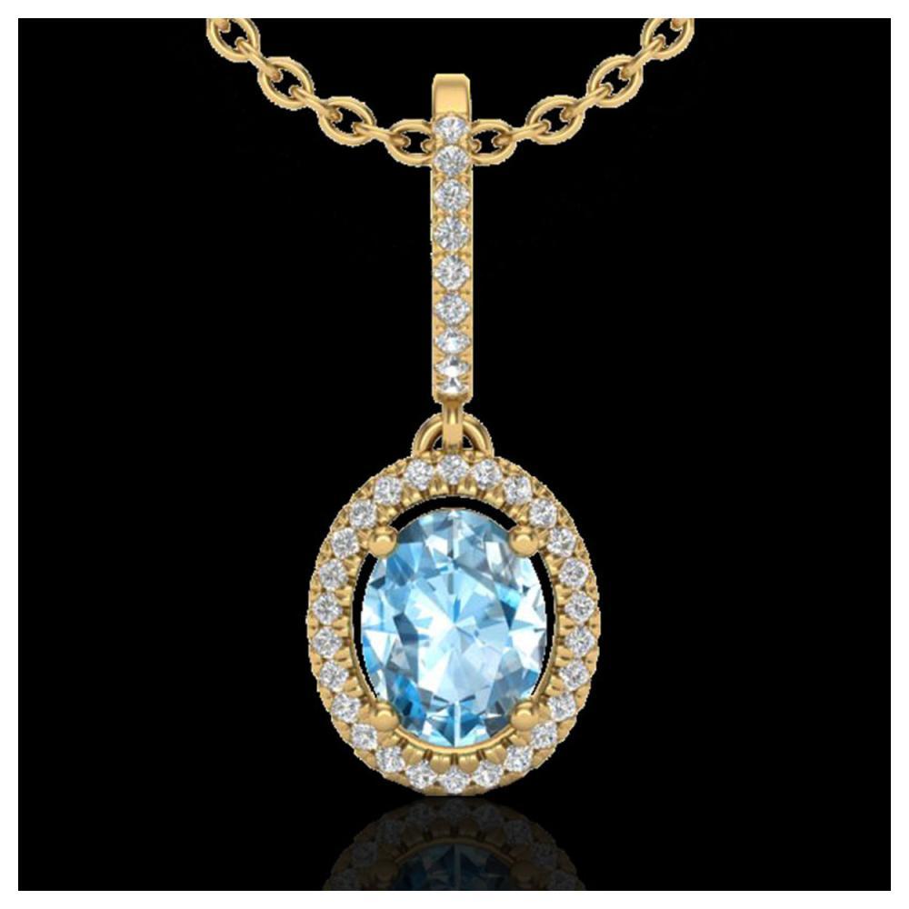 2 ctw Sky Blue Topaz & VS/SI Diamond Necklace 18K Yellow Gold - REF-58W2H - SKU:20654