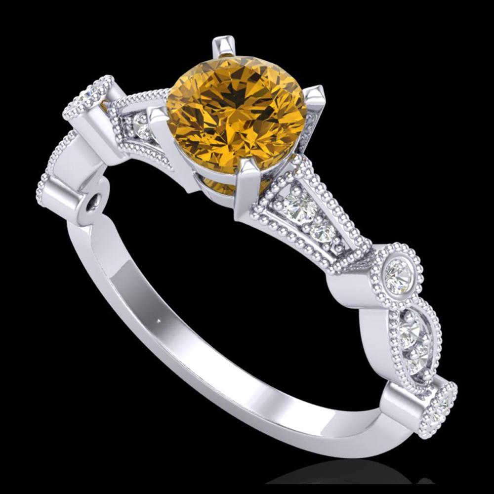 1.03 ctw Intense Fancy Yellow Diamond Art Deco Ring 18K White Gold - REF-121W8H - SKU:37679