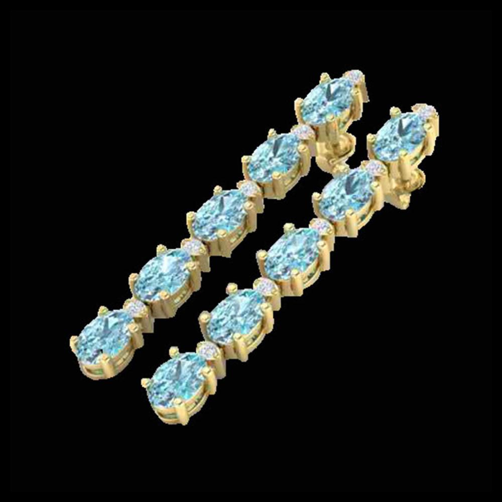 10.36 ctw Sky Blue Topaz & VS/SI Diamond Earrings 10K Yellow Gold - REF-53V3Y - SKU:29412