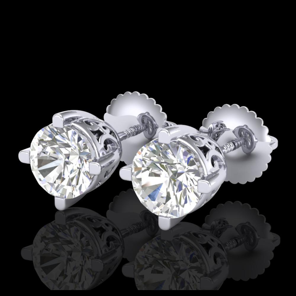 1.50 ctw VS/SI Diamond Solitaire Art Deco Stud Earrings 18K White Gold - REF-318H2M - SKU:37229