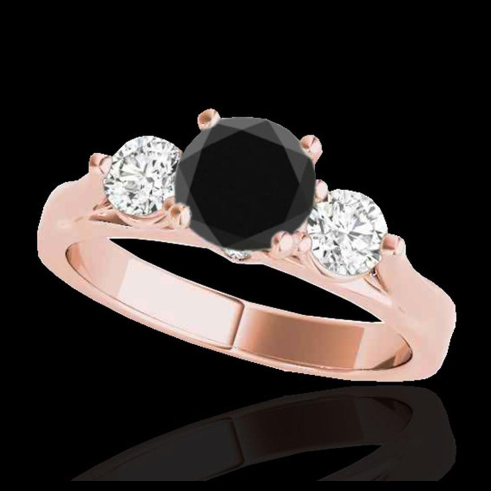 1.75 ctw VS Black Diamond 3 Stone Ring 10K Rose Gold - REF-72X5R - SKU:35380