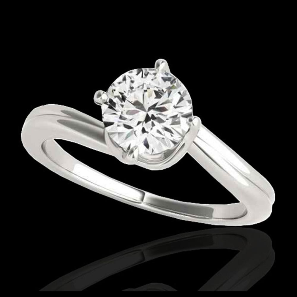 1 ctw H-SI/I Diamond Bypass Solitaire Ring 10K White Gold - REF-105R8K - SKU:35032