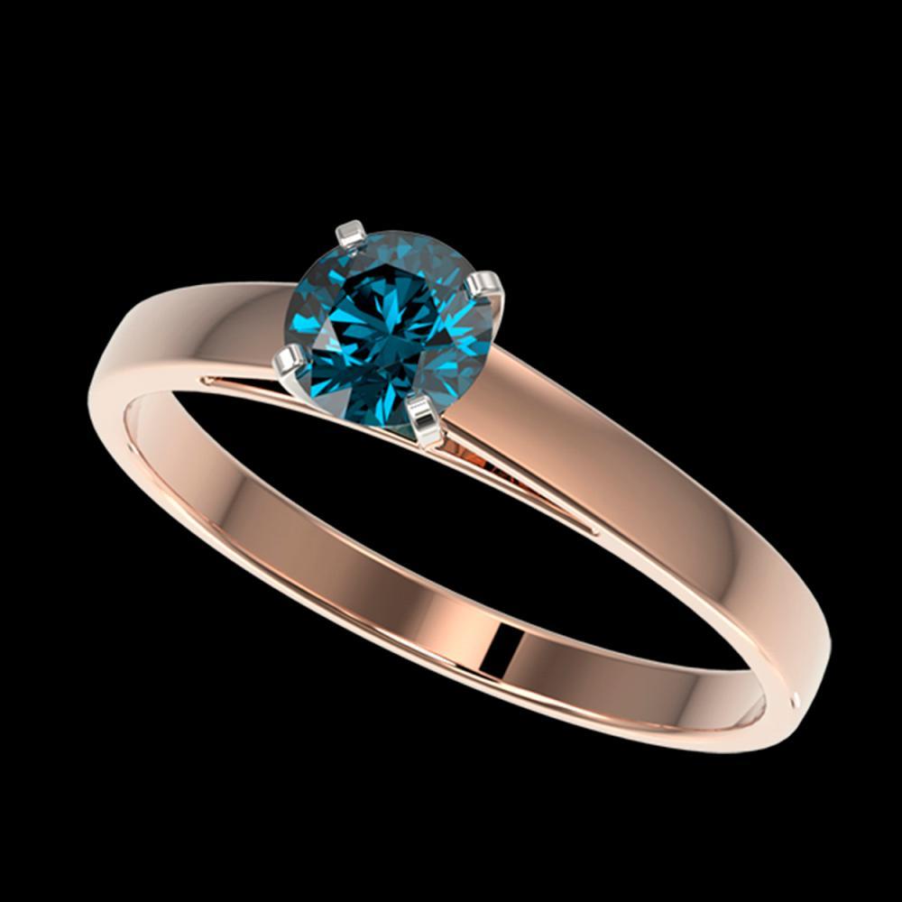 0.50 ctw Intense Blue Diamond Ring 10K Rose Gold - REF-50F3N - SKU:32959