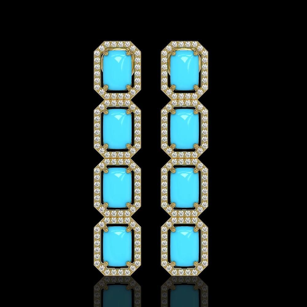 11.13 ctw Turquoise & Diamond Halo Earrings 10K Rose Gold - REF-145R6K - SKU:46070