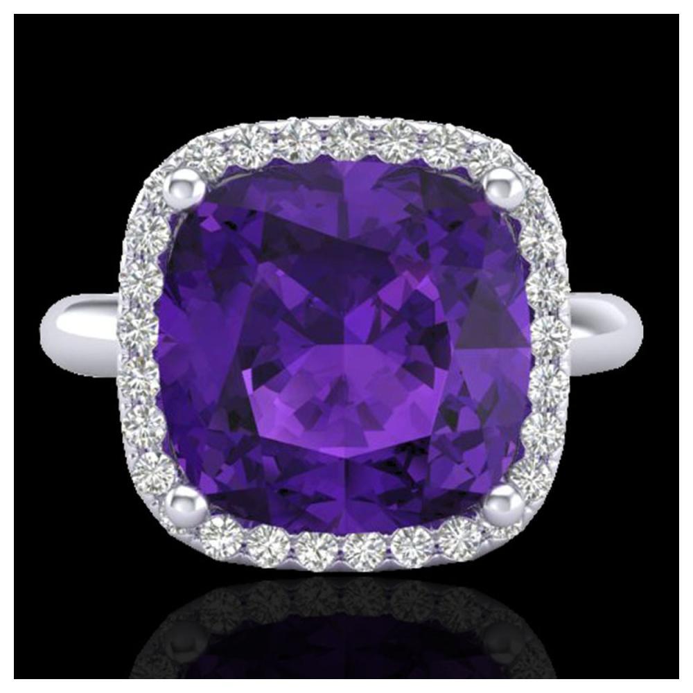 6 ctw Amethyst & Halo VS/SI Diamond Ring 18K White Gold - REF-56V7Y - SKU:23091