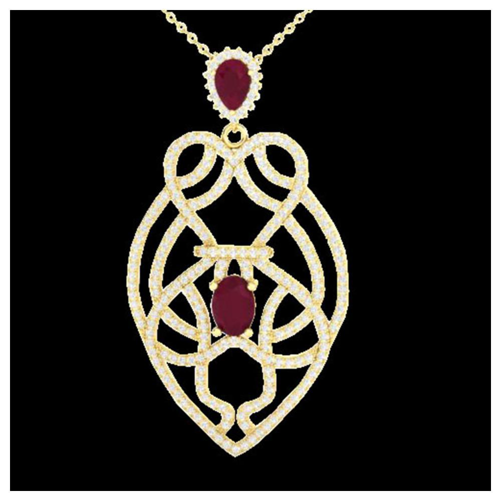 3.50 ctw Ruby & VS/SI Diamond Heart Necklace 14K Yellow Gold - REF-179Y6X - SKU:21251