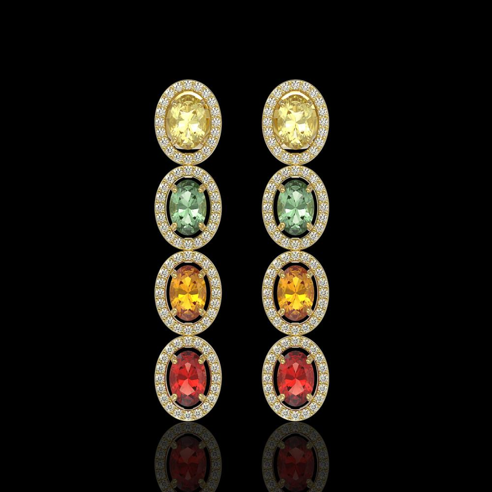 6.09 ctw Multi Color Sapphire & Diamond Earrings 10K Yellow Gold - REF-135H3M - SKU:40552