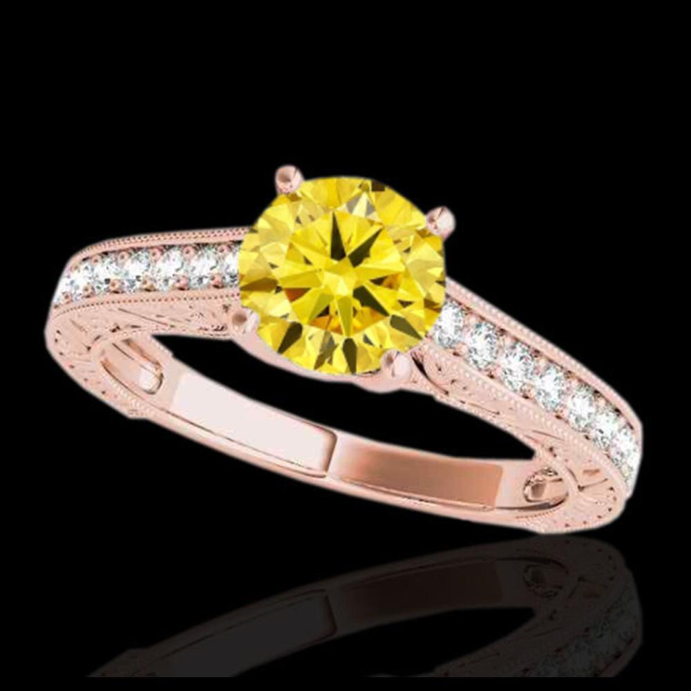 1.32 ctw SI/I Fancy Intense Yellow Diamond Ring 10K Rose Gold - REF-184Y3X - SKU:34951