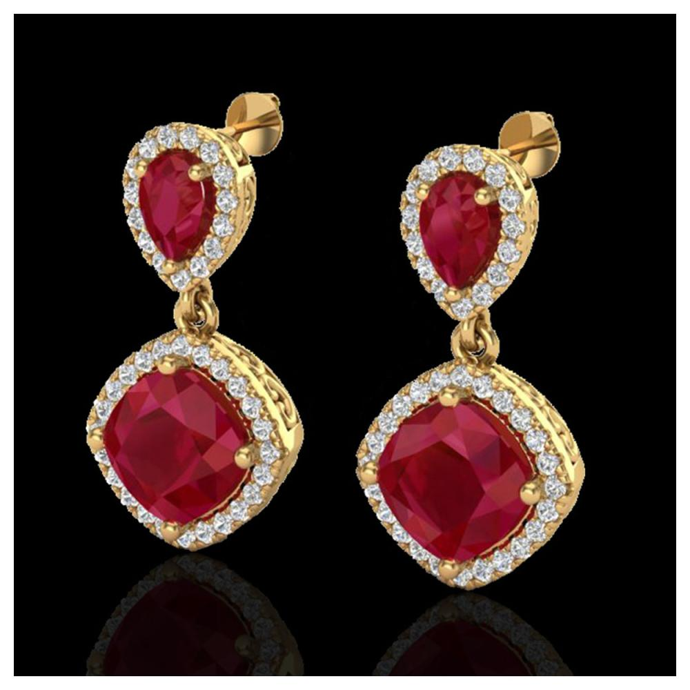 7 ctw Ruby & VS/SI Diamond Earrings Designer 10K Yellow Gold - REF-118H2M - SKU:20208