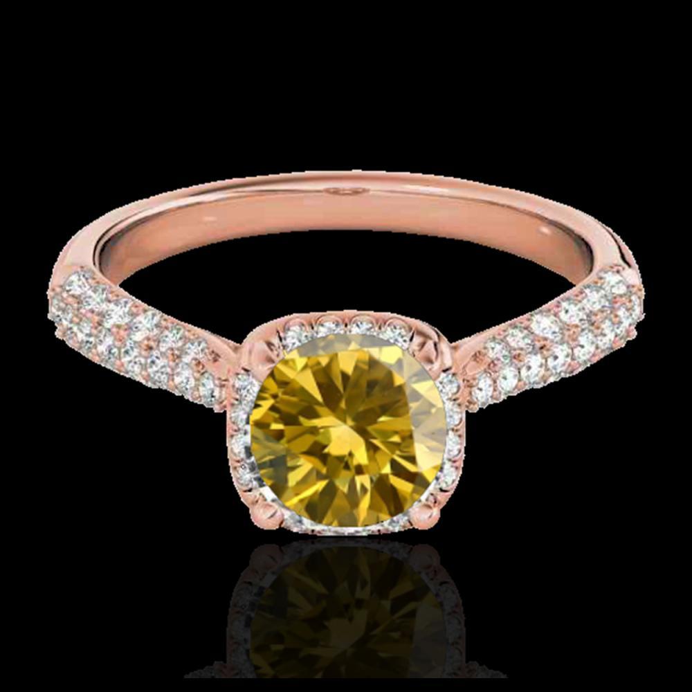1.50 ctw SI/I Fancy Intense Yellow Diamond Ring 10K Rose Gold - REF-177V3Y - SKU:33266