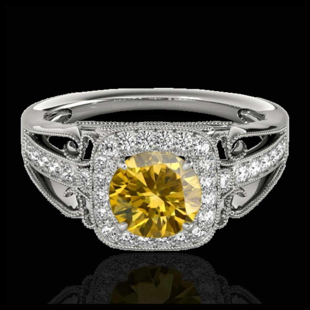 1.30 ctw SI/I Fancy Intense Yellow Diamond Ring 10K White Gold - REF-177M3F - SKU:33776