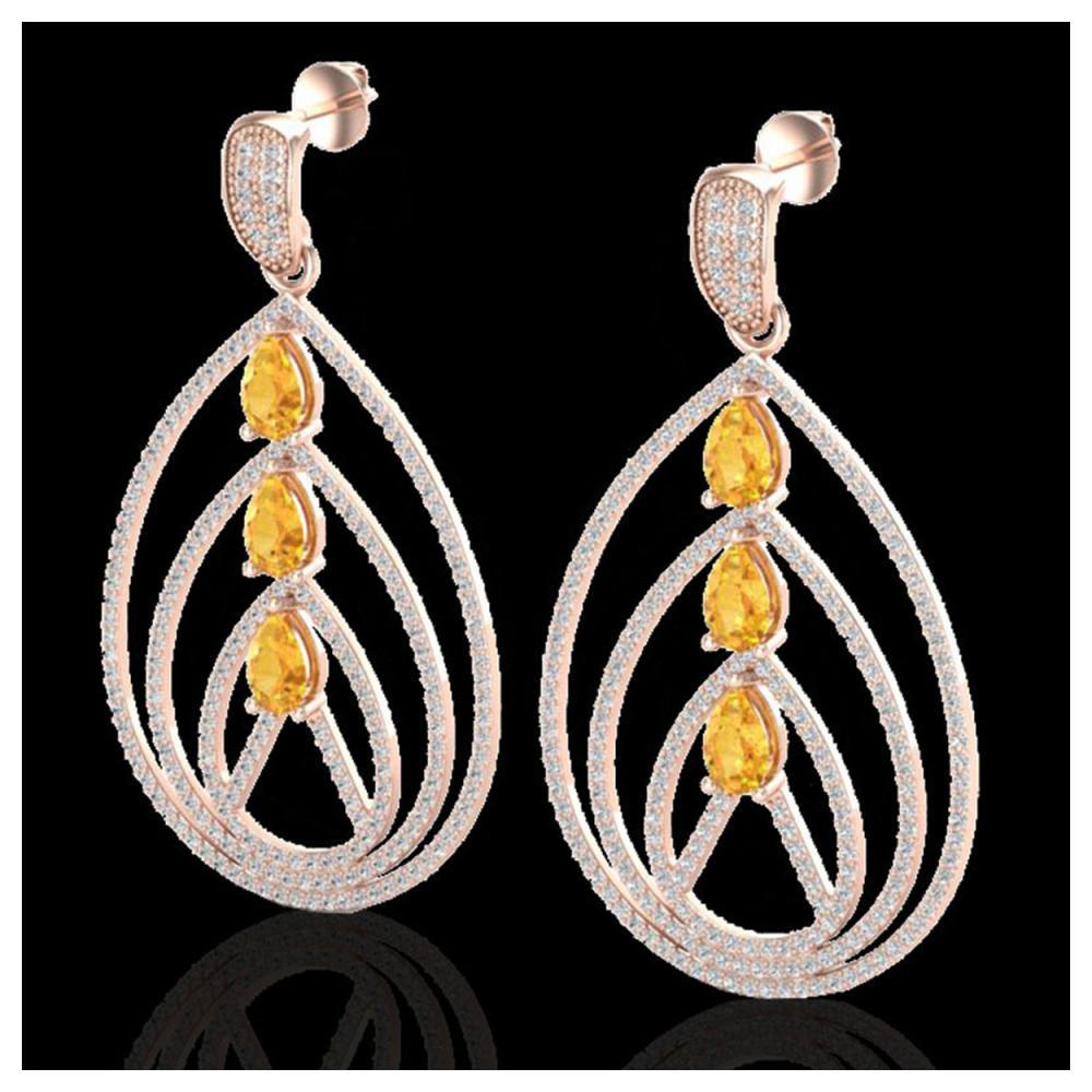 4 ctw Citrine & VS/SI Diamond Earrings 14K Rose Gold - REF-307F3N - SKU:22453